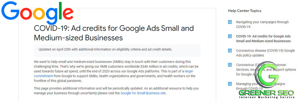 Get Your COVID19 AD Credits From Google